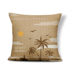 Linen Ocean Style Cushion Covers Palm Trees Pillowcases Sailboat Seagull Beach House Decor