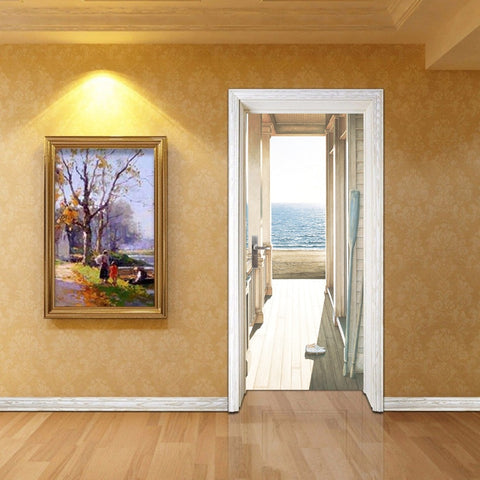 Open Door To The Sea Art 3D Wall Murals Stickers Door Wallpaper Decals Home Decoration