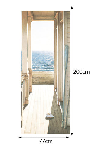 3D Wall Murals Stickers Door Open Door To The Sea Art Stickers Wallpaper Decals Home Decor