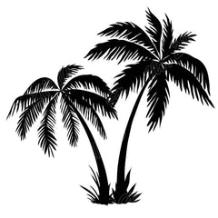 Wall Decal Big Palm Trees Silhouettes Ocean Water Swim Wave Beach Removable Vinyl Sticker