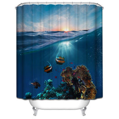 Polyester Bathroom Shower Curtain with a Ocean or Wild Theme Designs