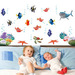 4Types of Wall Sticker Kids Cartoon Seabed Fish for Rooms Bathroom Home Decor