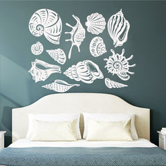 Wall Decals Sea Shells 3 Sizes  Stickers Nautical Art Wallpaper Removable Vinyl Room Decor Mural