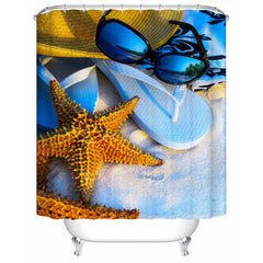 9 Variants of Shower Starfish Polyester Curtains for Bathroom with a Beach Decorations