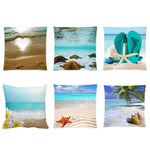 Cushion Cover 6 Styles of Happy Place Beach Style Cotton Pillowcase for Home Decor