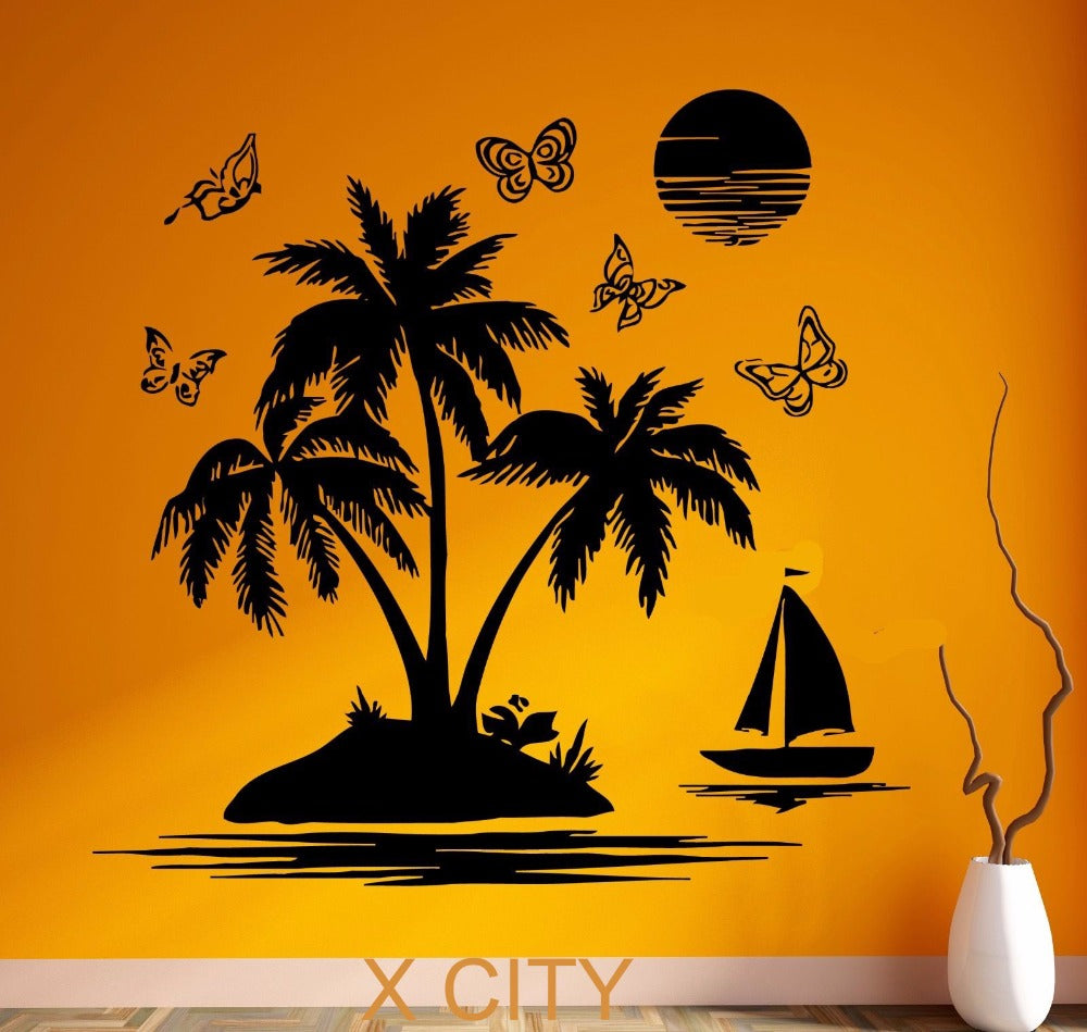 Tropical Scenery Palm Beach Island Black Wall Art Decal Sticker