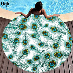 Round Beach Silk Towel Women Blanket Fashion Peacock Feather Print