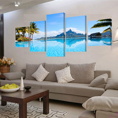 5PCS LANDSCAPE 3D PHOTO CANVAS FOR WALL DECORATION