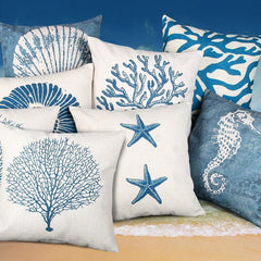 Pillow Cushion Case 9 Types of Blue Sea Throw Linnen Pillow Case For Home Decor
