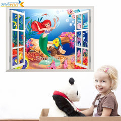 The little mermaid wall stickers for kids home decoration diy 3d window sticker wall decal for girls room