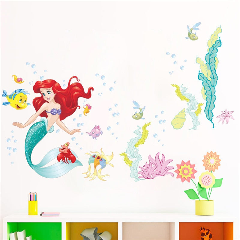 Home Decor New Little Mermaid Wall Art Stickers Removable