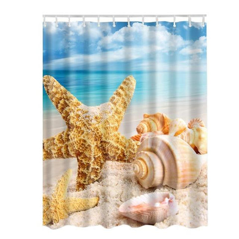 Bathroom Shower Curtain Starfish Seascape 6 Styles Beach Style Curtain