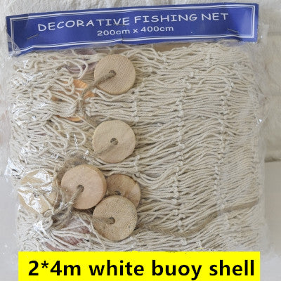 Blue/White Fishing Net Decorative Fabric Seaside Beach Shell wall Decor