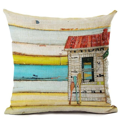 Beach Theme Pillowcase Linen Cotton Decorative Pillow Cover