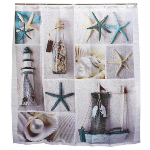 Shower Curtain Beach Starfish and Waterfall Bathorm Home Decor