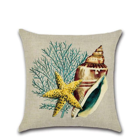Linen Cushion Cover Marine Style Beach Pillow Case