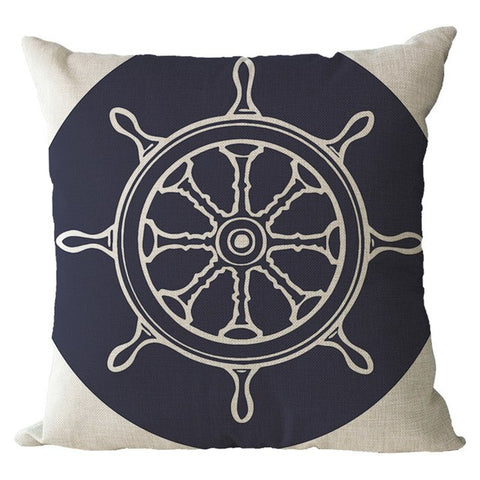 Nautical Linen Cushion Covers Anchor 12 Designs Pillow Case for Couch Seat Home Decor