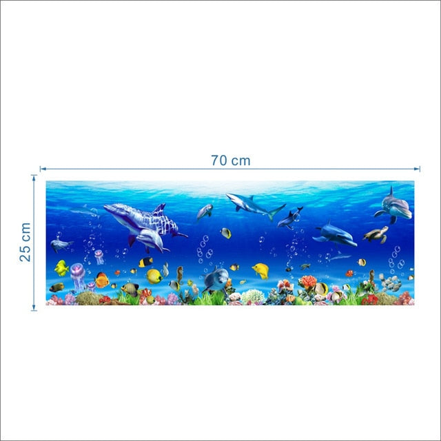 Underwater World Wall Stickers Fish Shark Dolphin Marine Wall Art Decals Room Decoration in 2 Variants