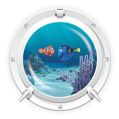 Cute cartoon coral fish turtle sea world animals 3D window submarine home decor wall sticker