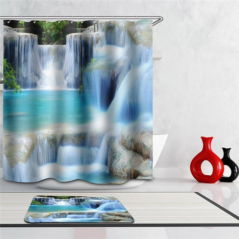 Beautifull Bathroom Shower Waterfalls Scenery Curtains in 5 Styles and BathMat