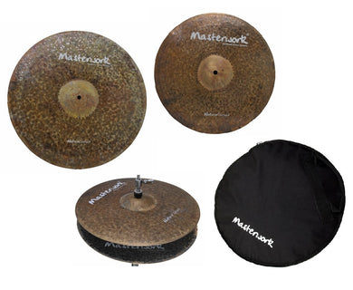 Masterwork Cymbals Natural Cymbal Pack Box Set (14HH-16CRS-20R+Bag)