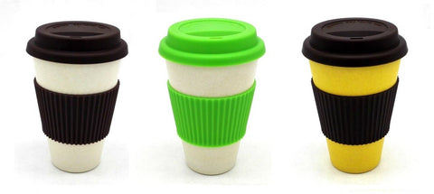 Reusable bamboo fiber coffee cup