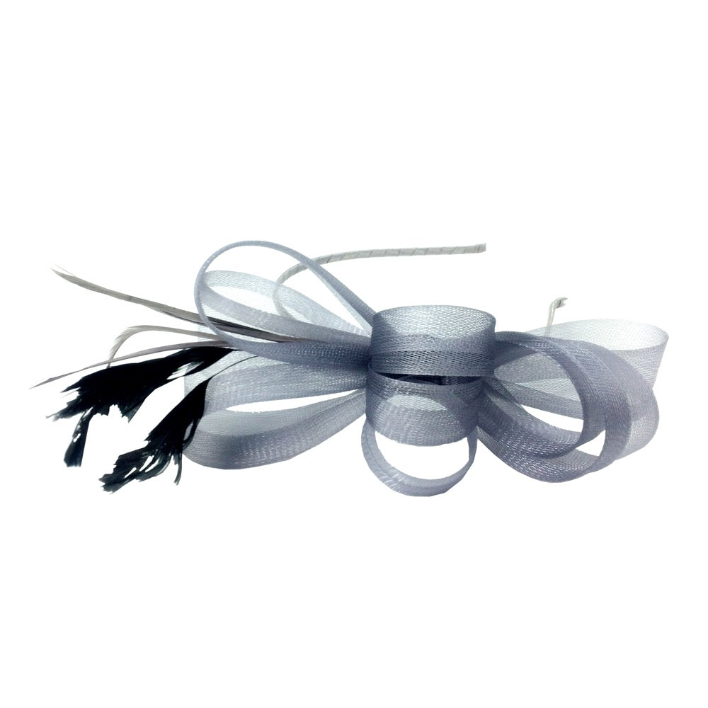 Fascinator bow hairband silver
