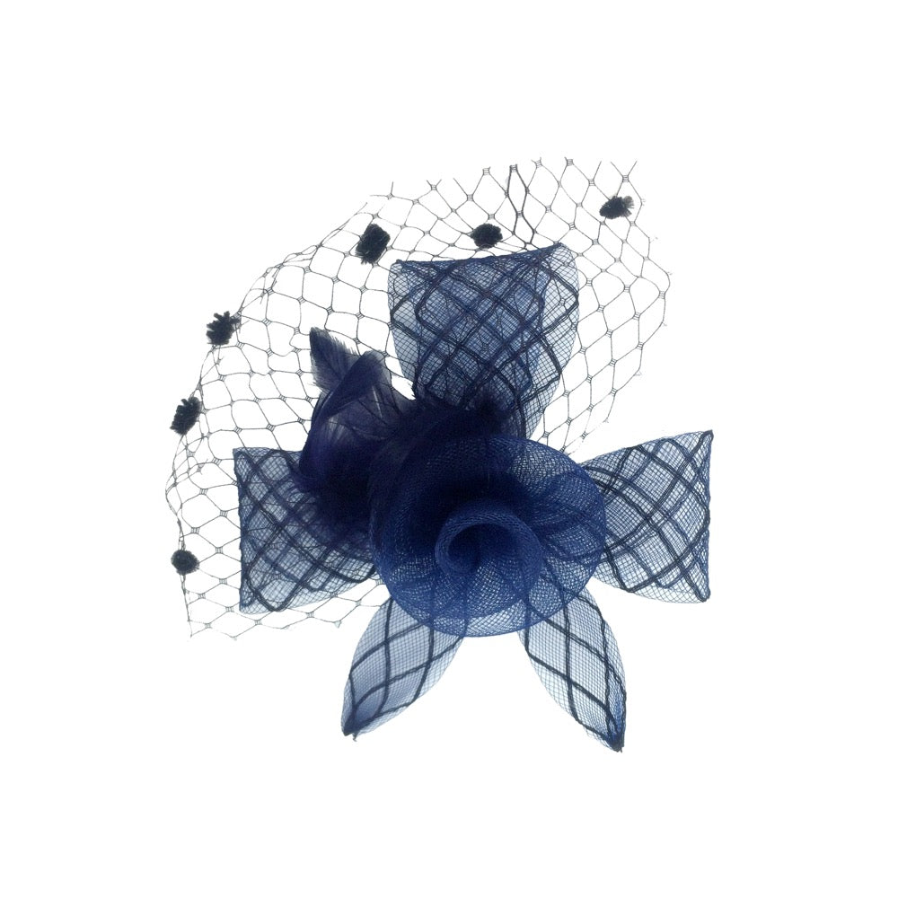 Fascinator flower with net navy