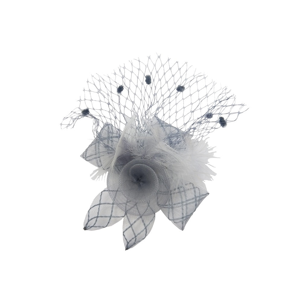 Fascinator flower with net silver