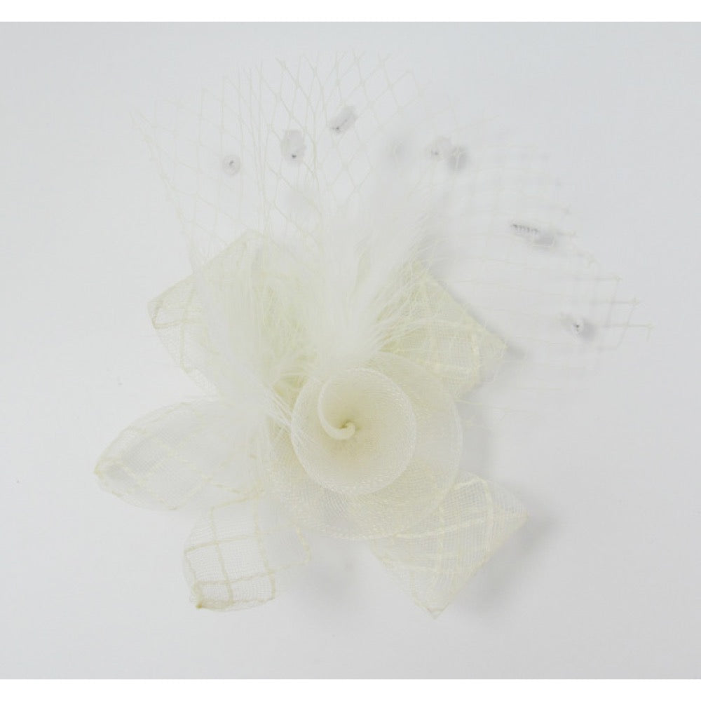 Fascinator flower with net ivory