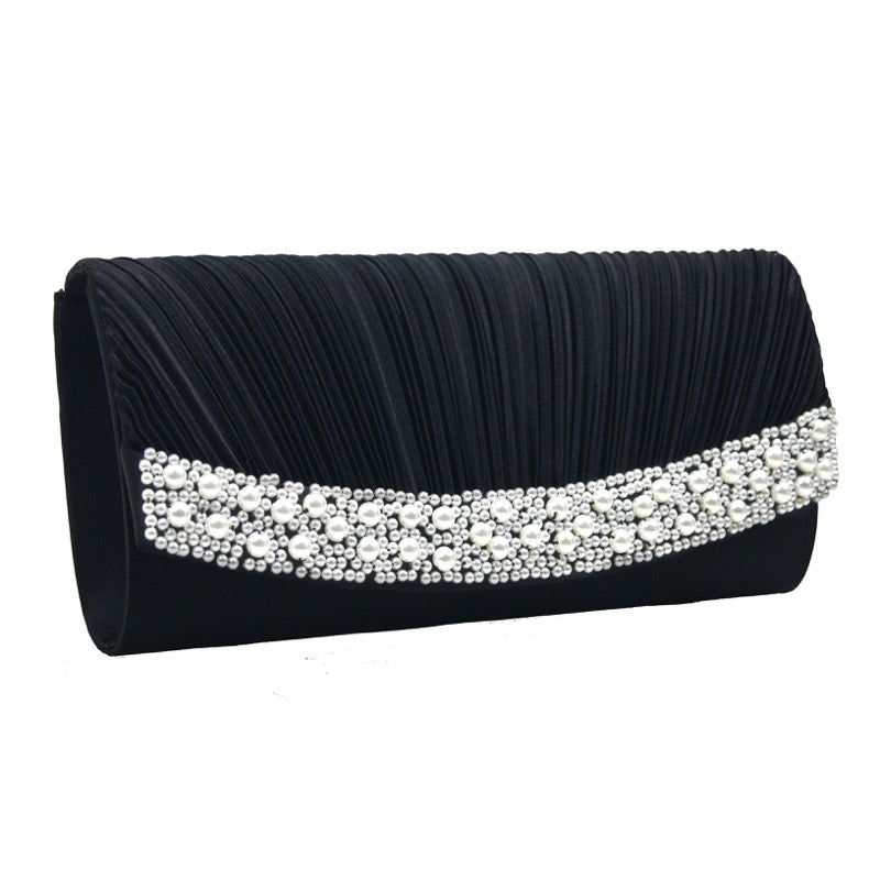 Clutch bag pearl detail black