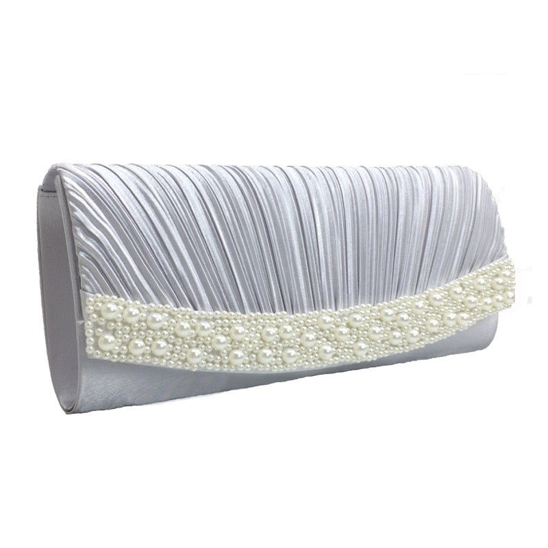 Clutch bag pearl detail silver