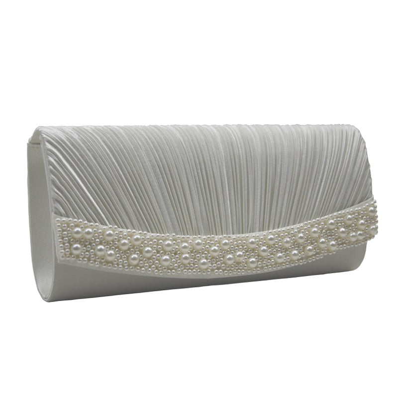 Clutch bag pearl detail ivory