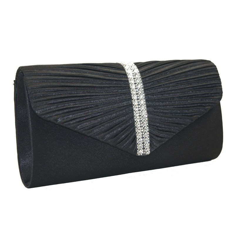 Clutch bag diamante detail black