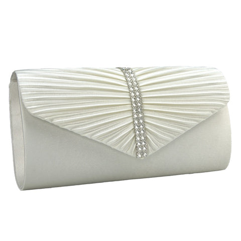Clutch bag diamante detail ivory