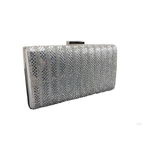 Crystal box clutch silver