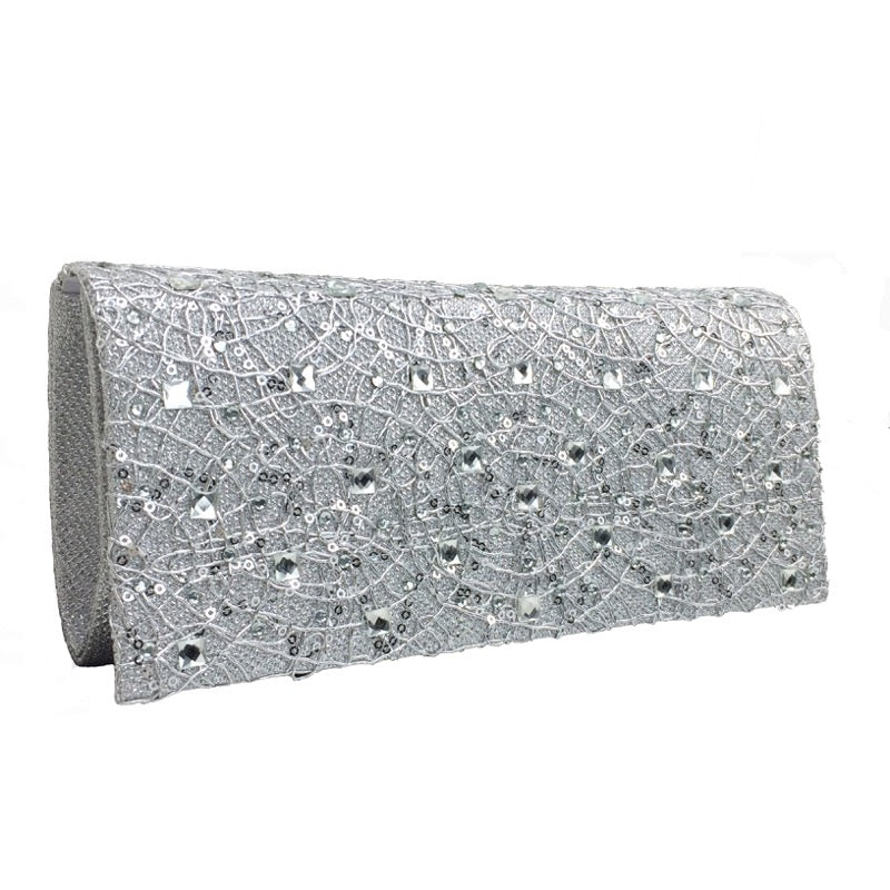 Clutch bag web detail silver