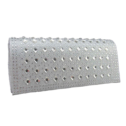 Clutch bag with crystal detail silver
