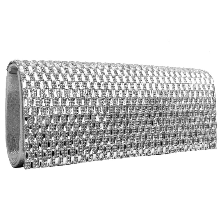 Clutch bag diamante silver