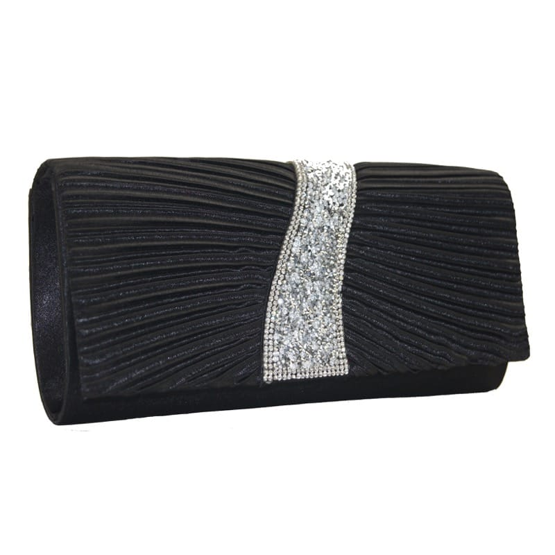 Clutch bag with diamante black