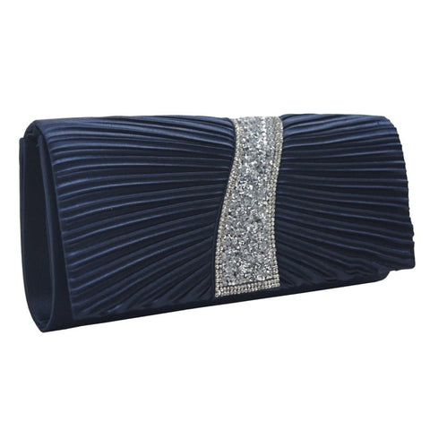 Clutch bag with diamante navy