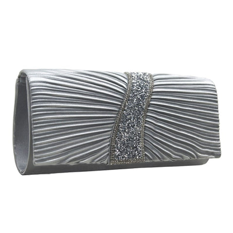 Clutch bag with diamante silver