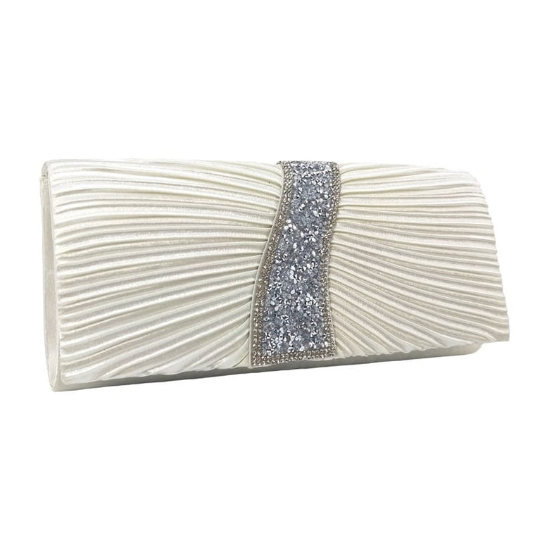 Clutch bag with diamante ivory