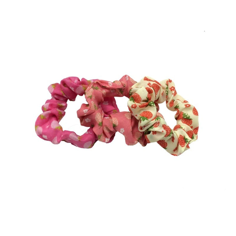 3pk strawberry print scrunchy
