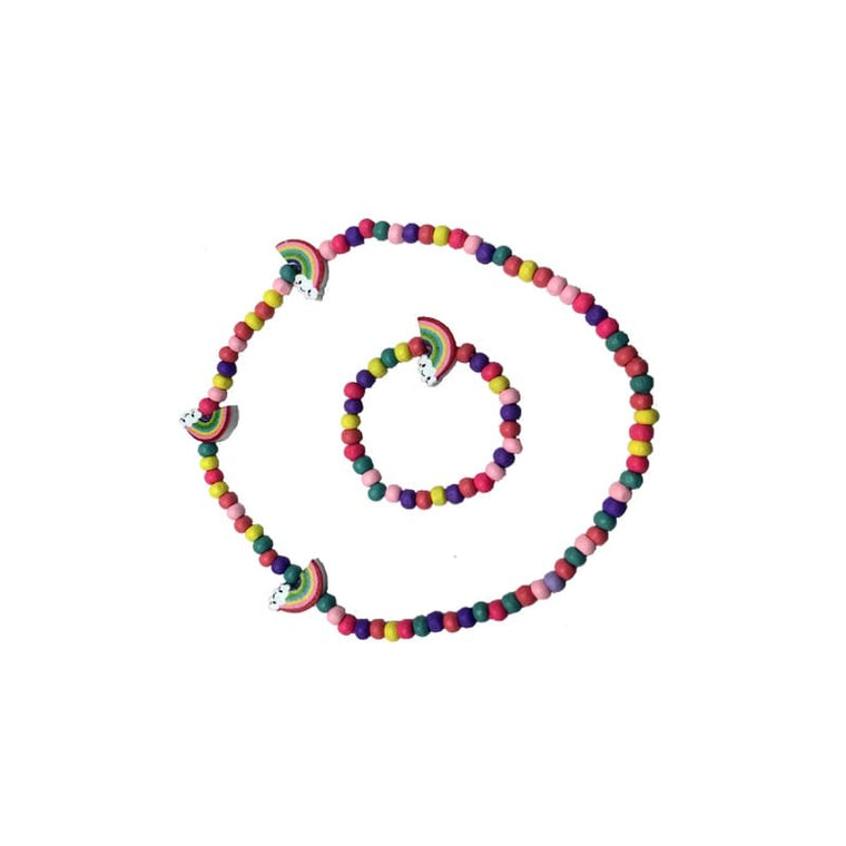 Rainbow necklace bracelet bead set