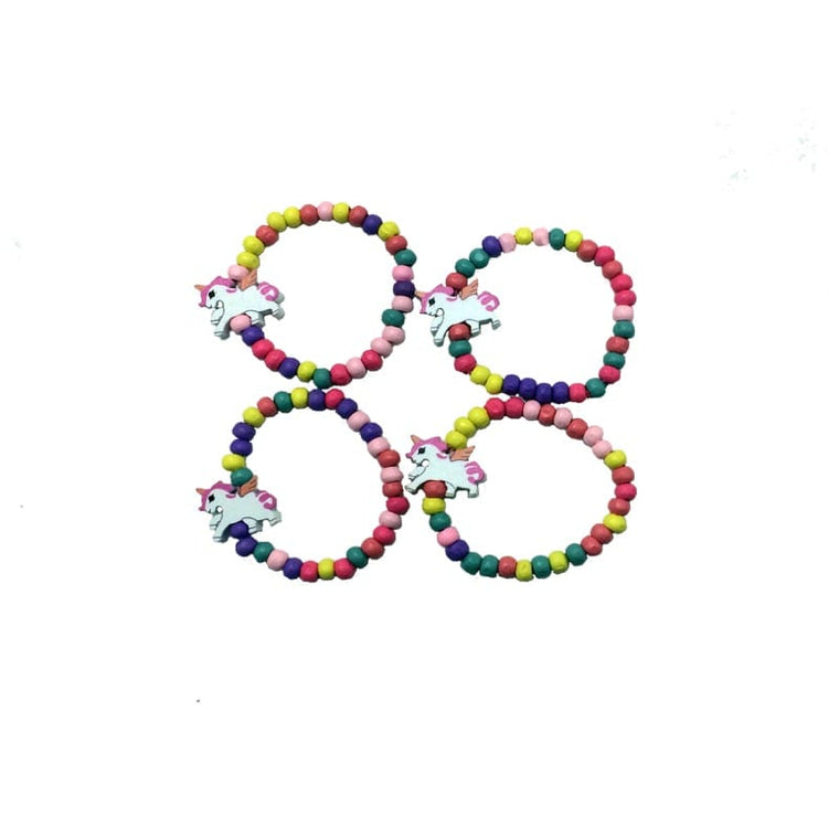 4pk Unicorn bead bracelet set