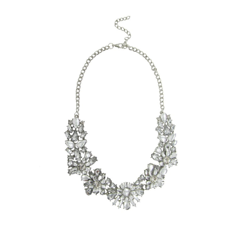Crystal statement necklace silver