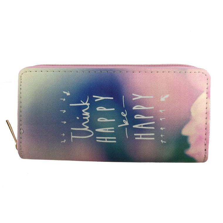 Think happy print wallet