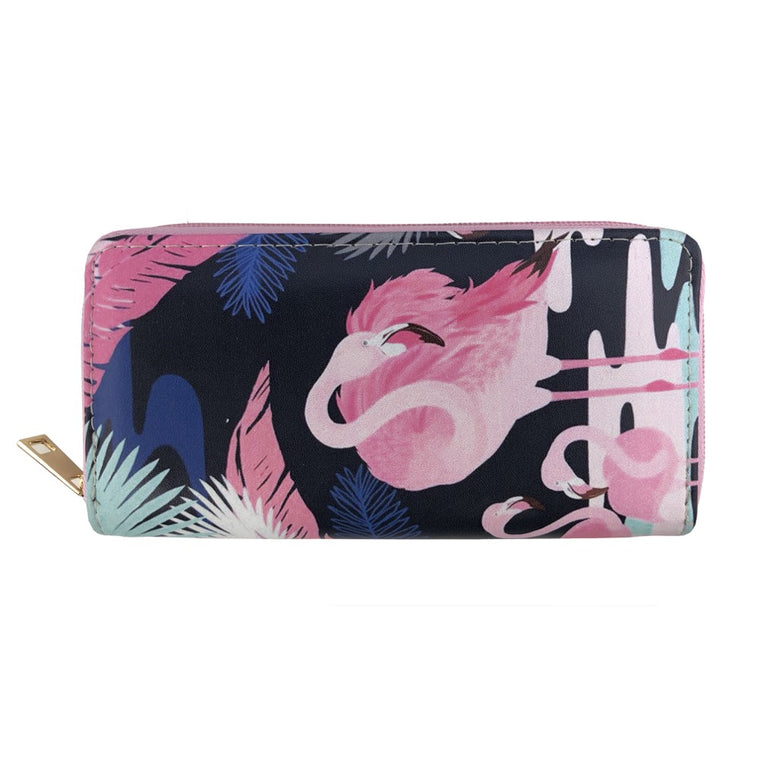 Flamingo palm print wallet