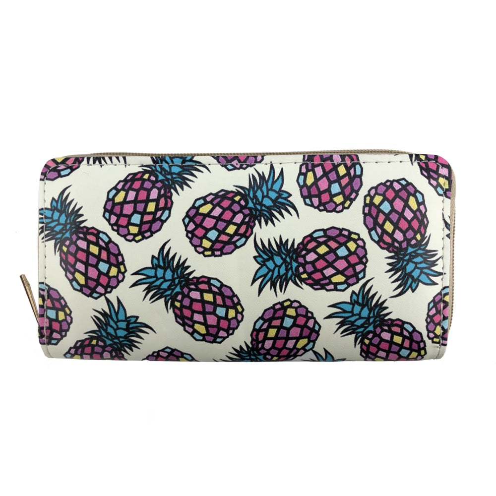 Multicoloured pineapple print wallet
